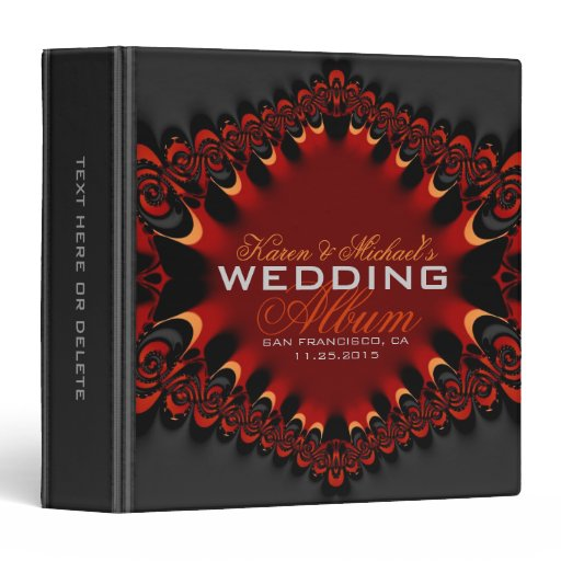 Gothic Satin Red Black Wedding Album Binder