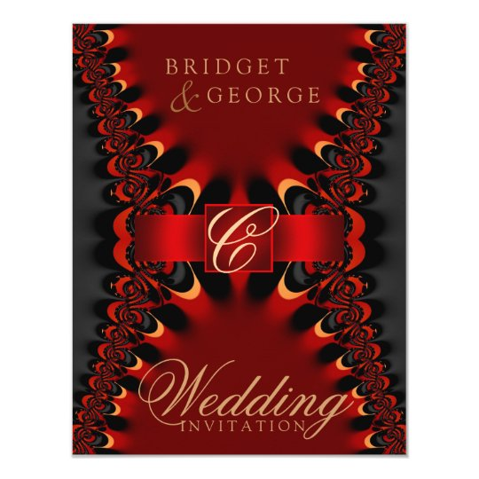 Gothic Satin Red Black Wedding Invitation Zazzle Com