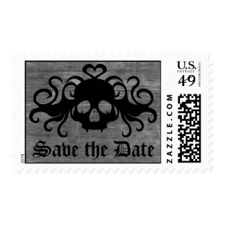 Gothic save the date fanged vampire skull stamp