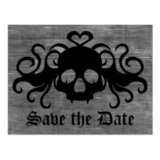 Gothic save the date fanged vampire skull postcard