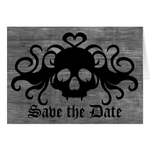 Gothic save the date fanged vampire skull stationery note card