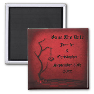 Gothic Save The Date Heart Tree & Red Damask 2 Inch Square Magnet