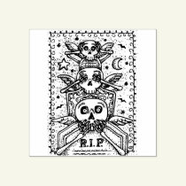 GOTHIC SEE NO EVIL, CEMETERY SKELETON RUBBER STAMP
