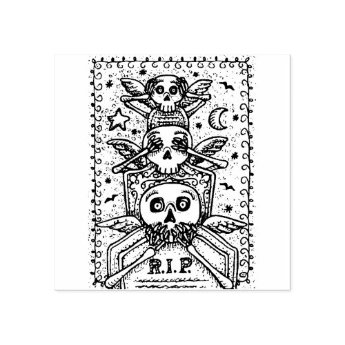 GOTHIC SEE NO EVIL CEMETERY SKELETON RUBBER STAMP