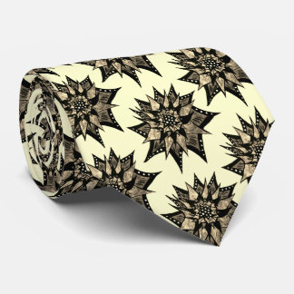 Gothic Sepia Toned Spiked Abstract Flower Pattern Neck Tie