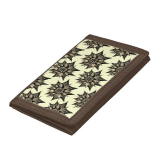 Gothic Sepia Toned Spiked Abstract Flower Pattern Trifold Wallet