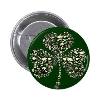 Gothic Shamrock Skulls Buttons