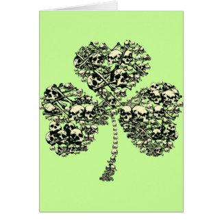Gothic Shamrock Skulls Greeting Card