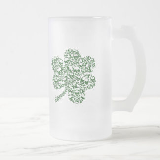 Gothic Shamrock Skulls Frosted Glass Beer Mug