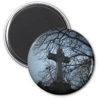 Gothic sheltered cross grave 2 inch round magnet