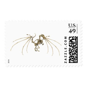 Halloween Themed Gothic Skeletal Dragon Demon Flying Stamp