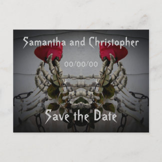 Gothic skeletal illusion Save the Date Announcement Postcard