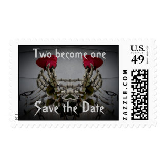 Gothic skeletal illusion Save the Date Postage