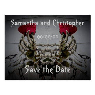 Gothic skeletal illusion Save the Date Postcards