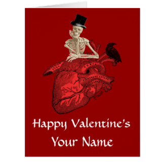 Gothic skeleton and heart valentines day card