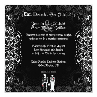 Gothic Skeleton Bride and Groom Invitations