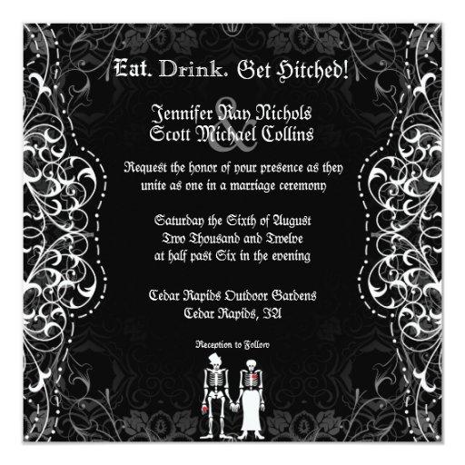 Gothic Skeleton Bride and Groom Invitations