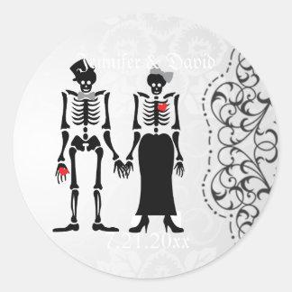 Gothic Skeleton Bride & Groom Label Stickers