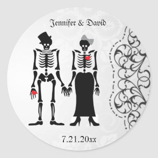 Gothic Skeleton Bride & Groom Save the Date Label Classic Round Sticker
