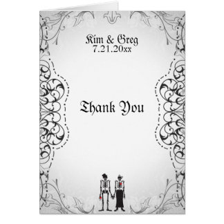 Gothic Skeleton Bride & Groom Thank You Card