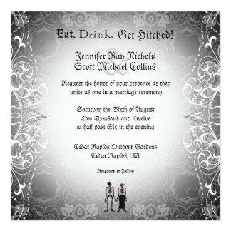 Gothic  Skeleton Bride & Groom Wedding Invitations