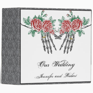 Gothic Skeleton Hands and Roses Wedding Binder