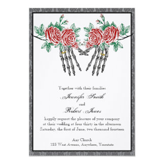 Gothic Skeleton Hands and Roses Wedding Invitation