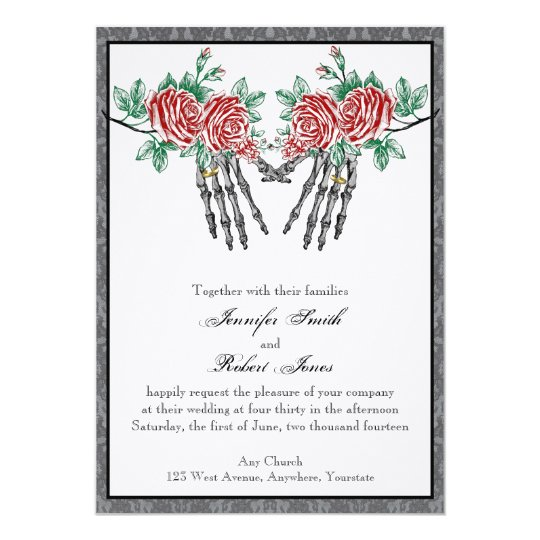 Gothic Skeleton Hands and Roses Wedding Invitation ...