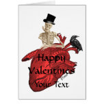 Gothic skeleton & heart valentines day card