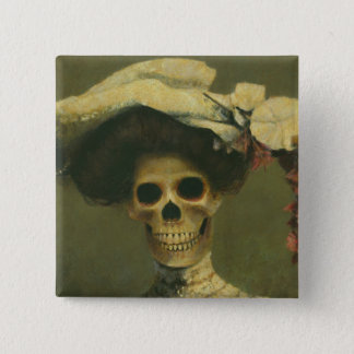Gothic Skeleton Lady Button