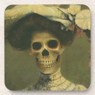 Gothic Skeleton Lady Cork Coaster