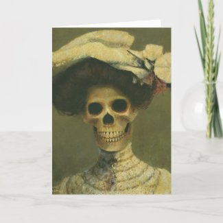 Gothic Skeleton Lady Greetings Card zazzle_card