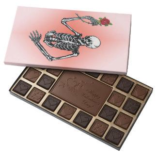 Gothic Skeleton Single Red Rose Assorted Chocolates