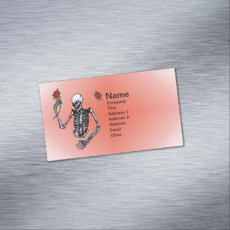 Gothic Skeleton Single Red Rose Business Card Magnet