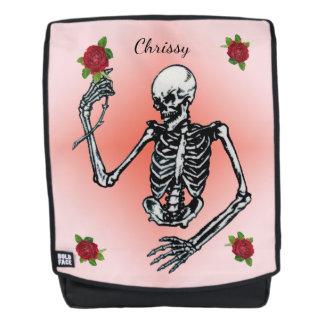 Gothic Skeleton With Elegant Red Roses on Pink Backpack