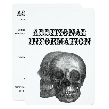 Wedding Themed Gothic Skull Additional Information Card