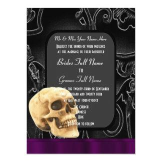 Gothic skull and black damask wedding card