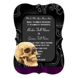Gothic skull and black wedding card