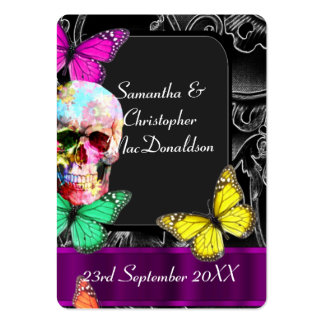 Gothic skull and black wedding favor thank you tag large business cards (Pack of 100)