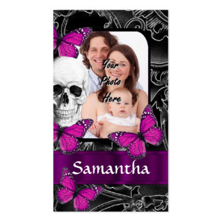 Gothic skull and butterflies business card template