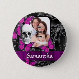 Gothic skull and butterflies button