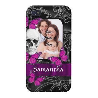 Gothic skull and butterflies iPhone 4 covers