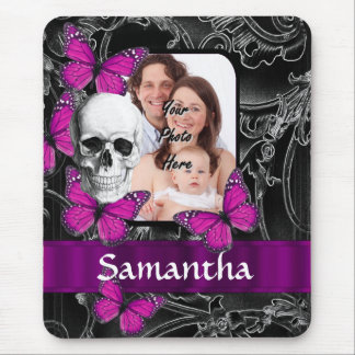 Gothic skull and butterflies mouse pad