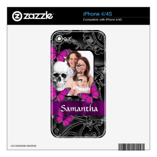 Gothic skull and butterflies decal for the iPhone 4
