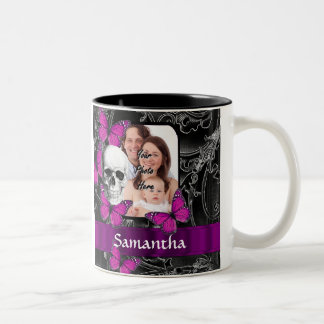 Gothic skull and butterflies Two-Tone coffee mug