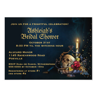 Gothic Skull and Candle Bridal Shower Card