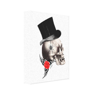 Gothic skull and rose tattoo style canvas prints