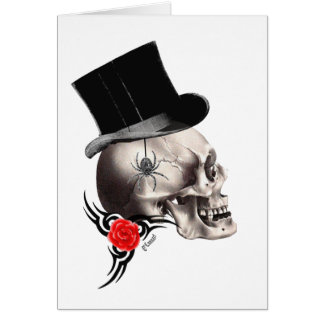 Gothic skull and rose tattoo style card