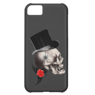 Gothic skull and rose tattoo style cover for iPhone 5C