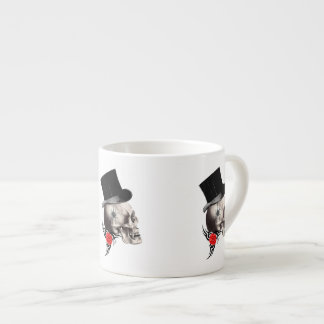 Gothic skull and rose tattoo style espresso cup